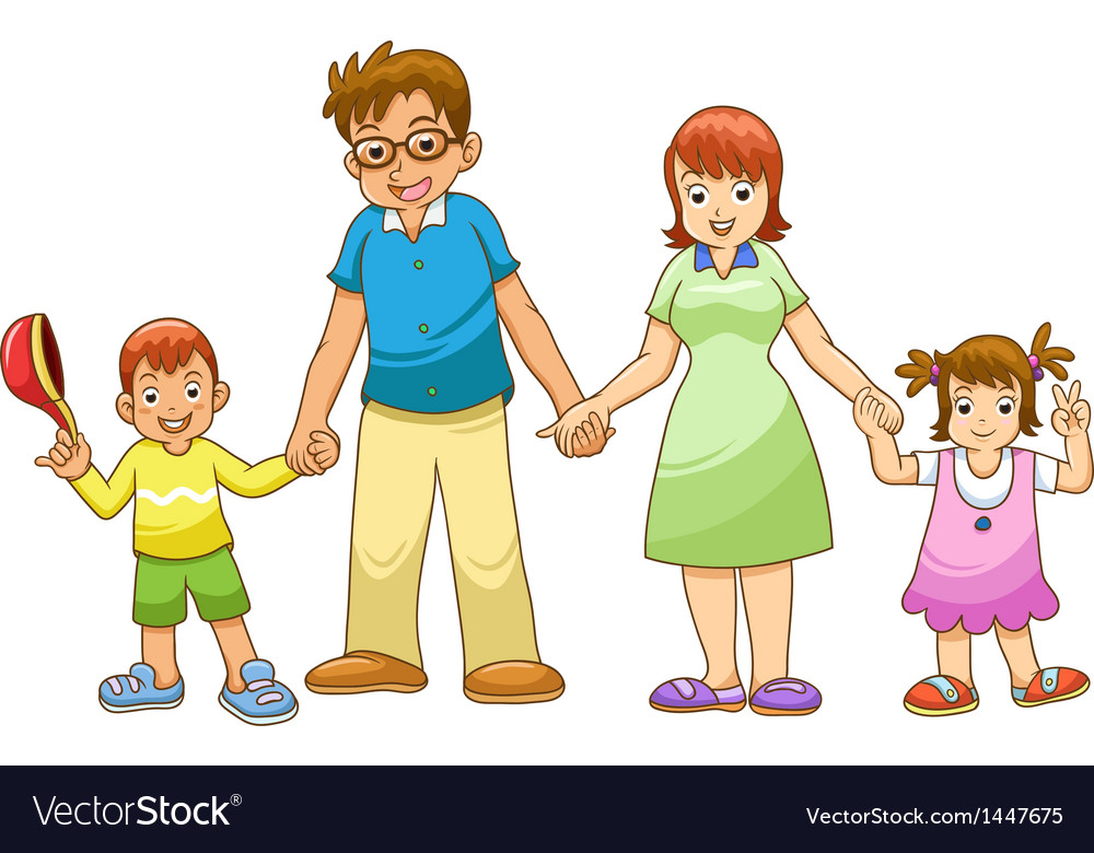 My family holding hands cartoon vector | Price: 1 Credit (USD $1)