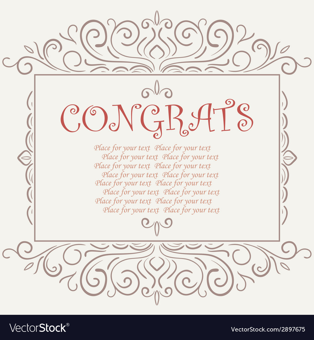 Vintage congratulations card vector | Price: 1 Credit (USD $1)
