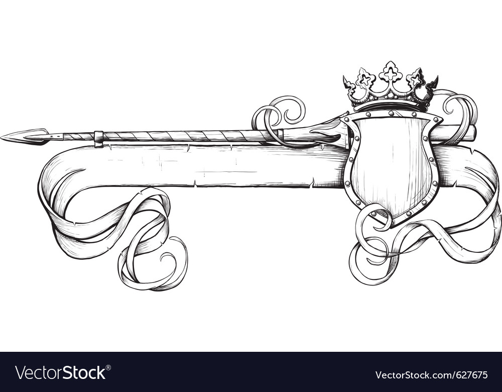 White banner spear and crown vector | Price: 1 Credit (USD $1)