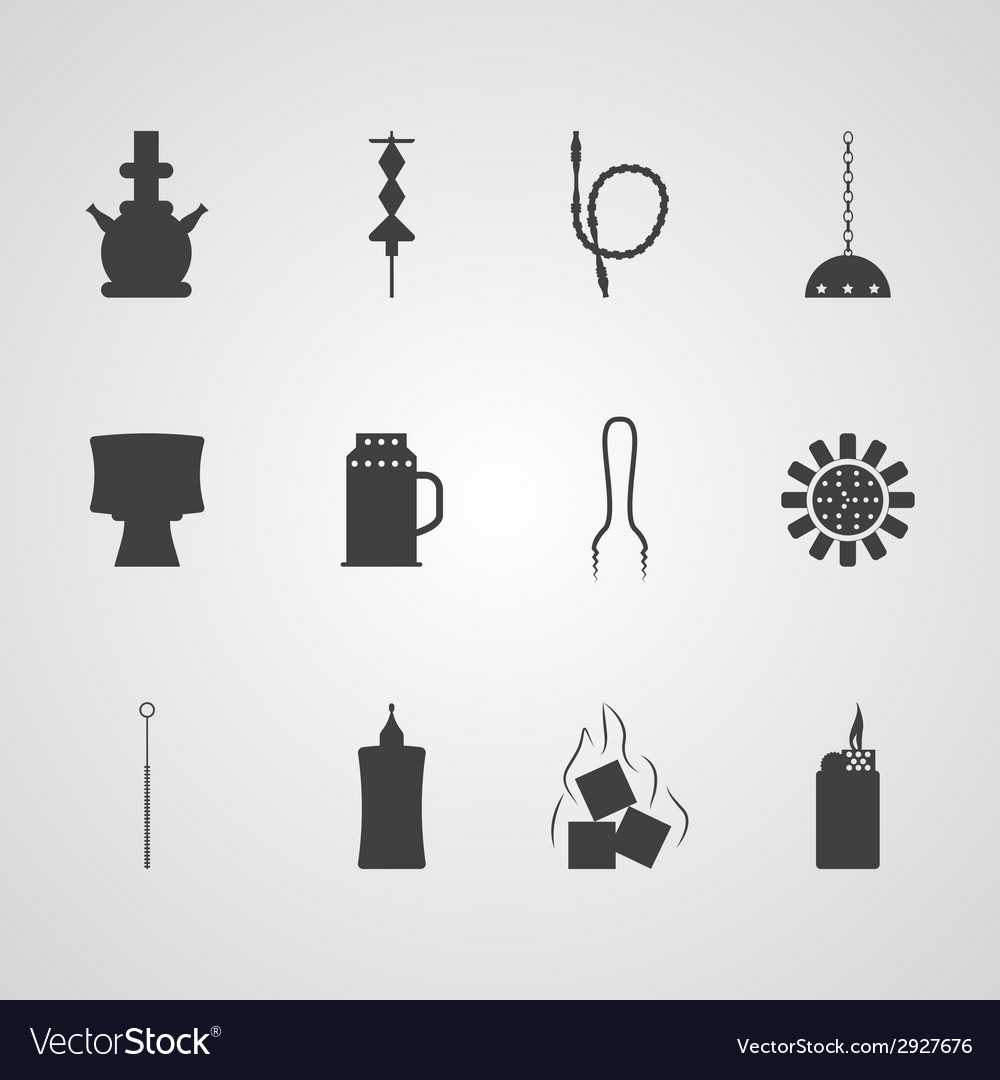 Black icons for hookah accessories vector | Price: 1 Credit (USD $1)