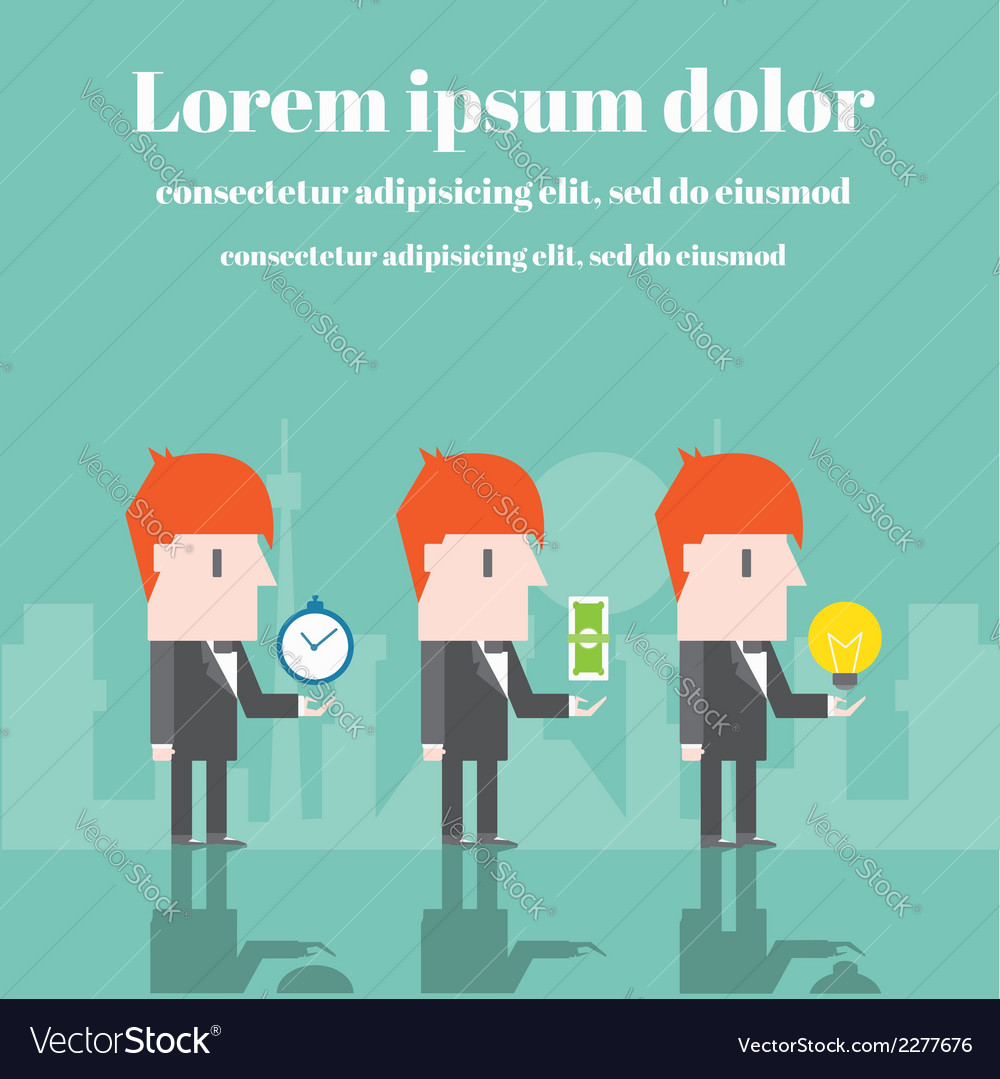 Businessman with time money and ideas vector | Price: 1 Credit (USD $1)
