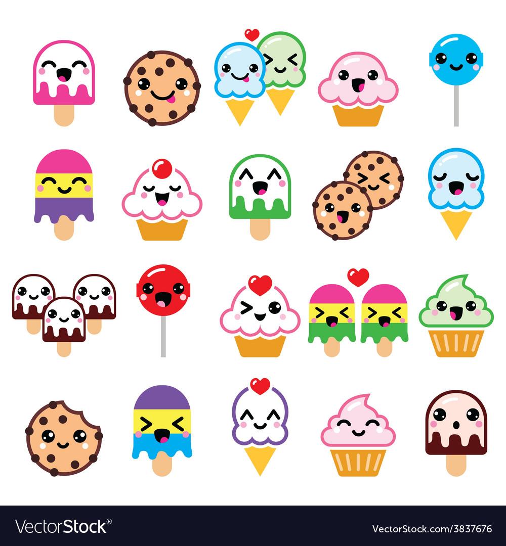 Cute kawaii food characters - cupcake ice-cream vector | Price: 1 Credit (USD $1)