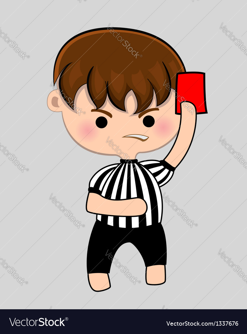 Football referee with red card vector | Price: 1 Credit (USD $1)