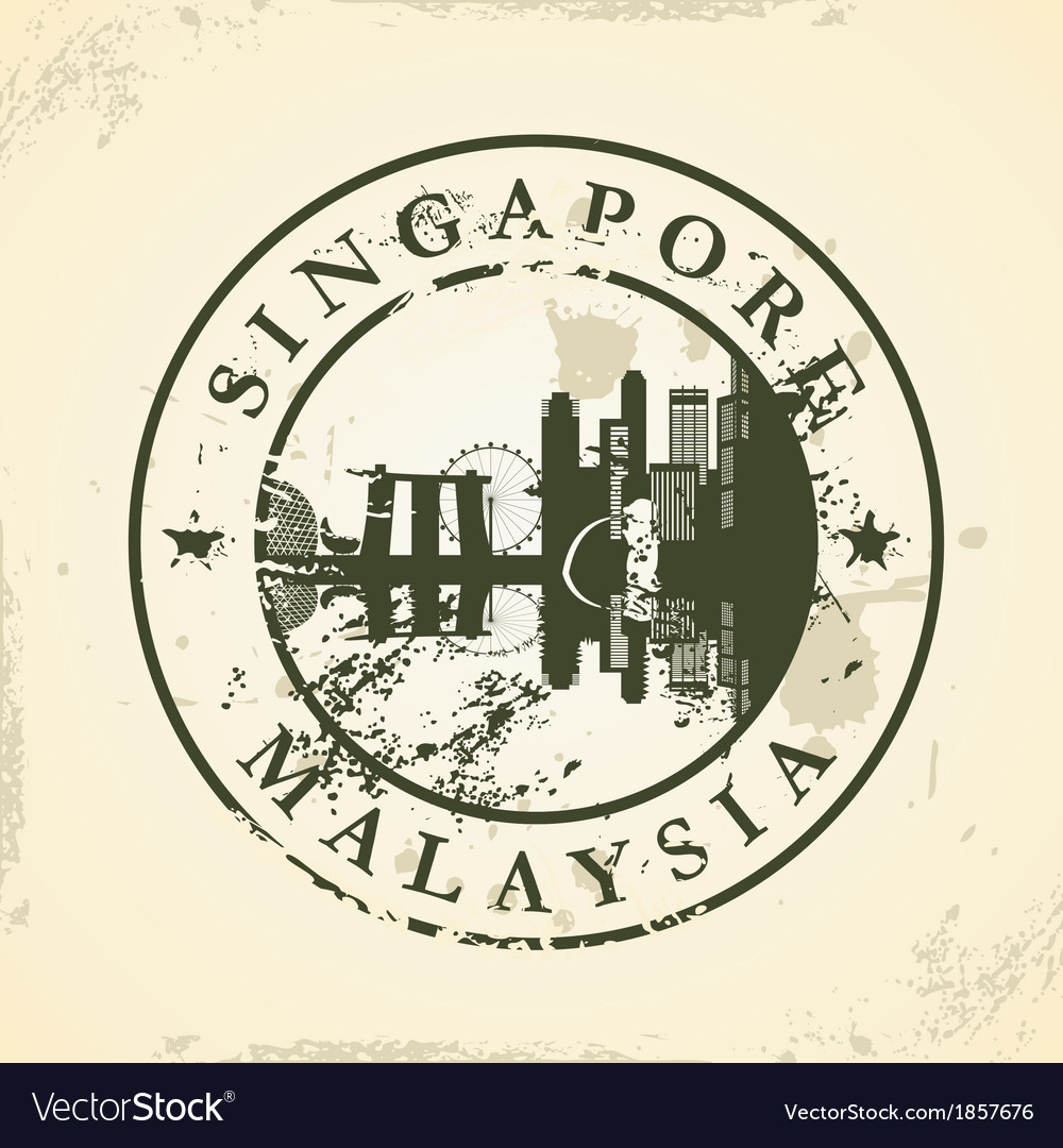 Grunge rubber stamp with singapore malaysia vector | Price: 1 Credit (USD $1)