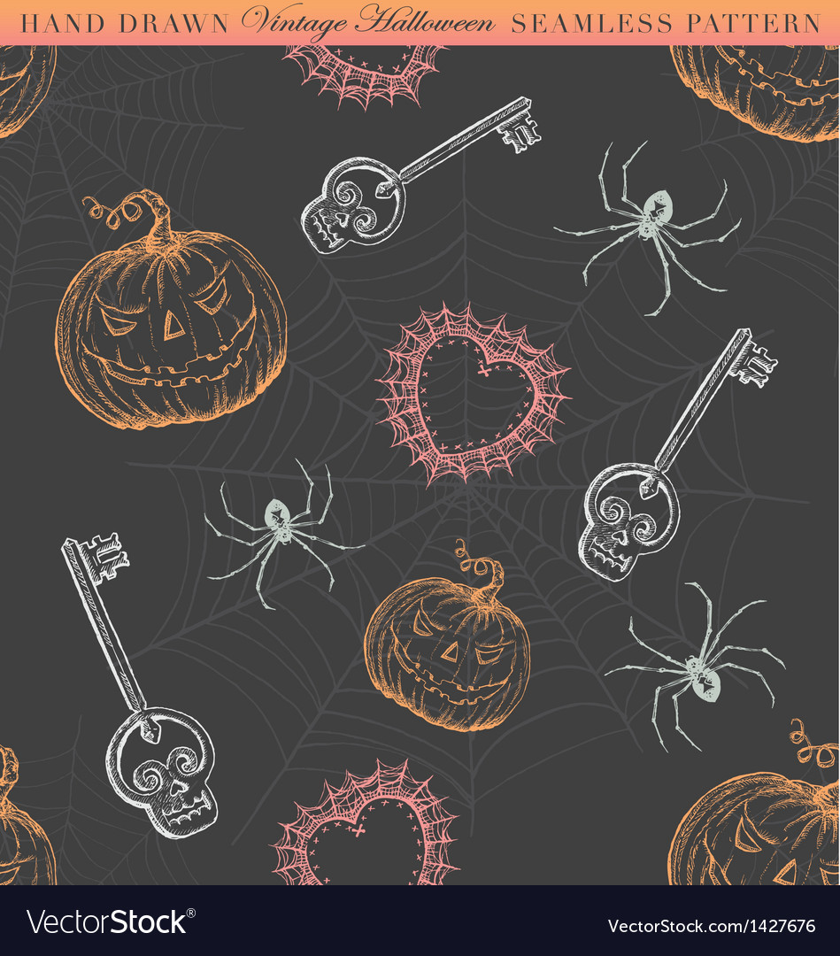 Hand drawn vintage halloween seamless pattern vector | Price: 1 Credit (USD $1)