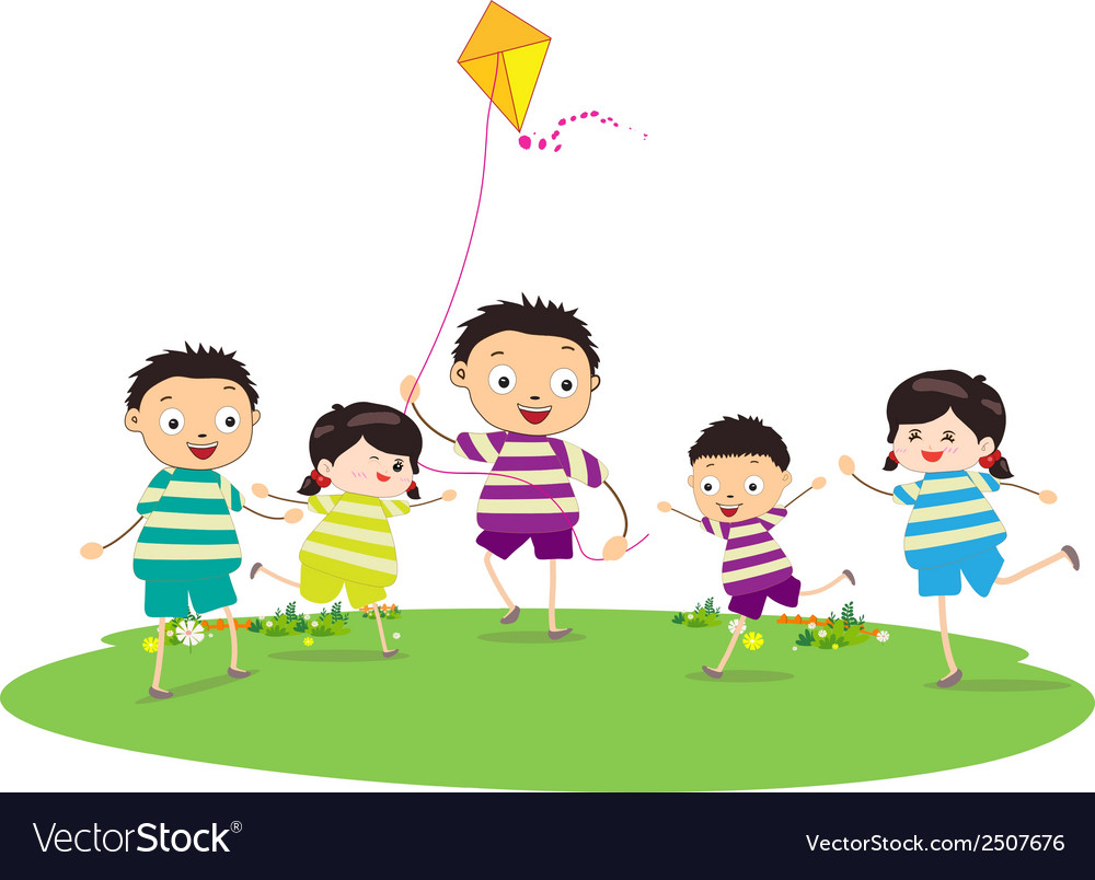 Little children outdoors kites vector | Price: 1 Credit (USD $1)