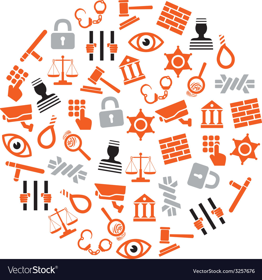 Prison icons in circle vector   Price: 1 Credit (USD $1)