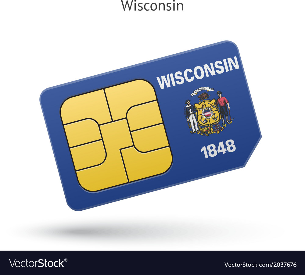 State of wisconsin phone sim card with flag vector | Price: 1 Credit (USD $1)