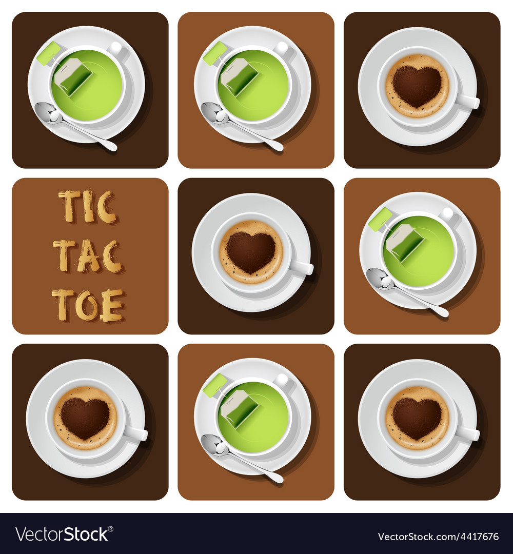 Tic-tac-toe of green tea and cappuccino vector | Price: 1 Credit (USD $1)