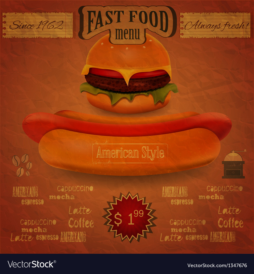 Vintage fast food menu - the food on crumpled pape vector | Price: 1 Credit (USD $1)