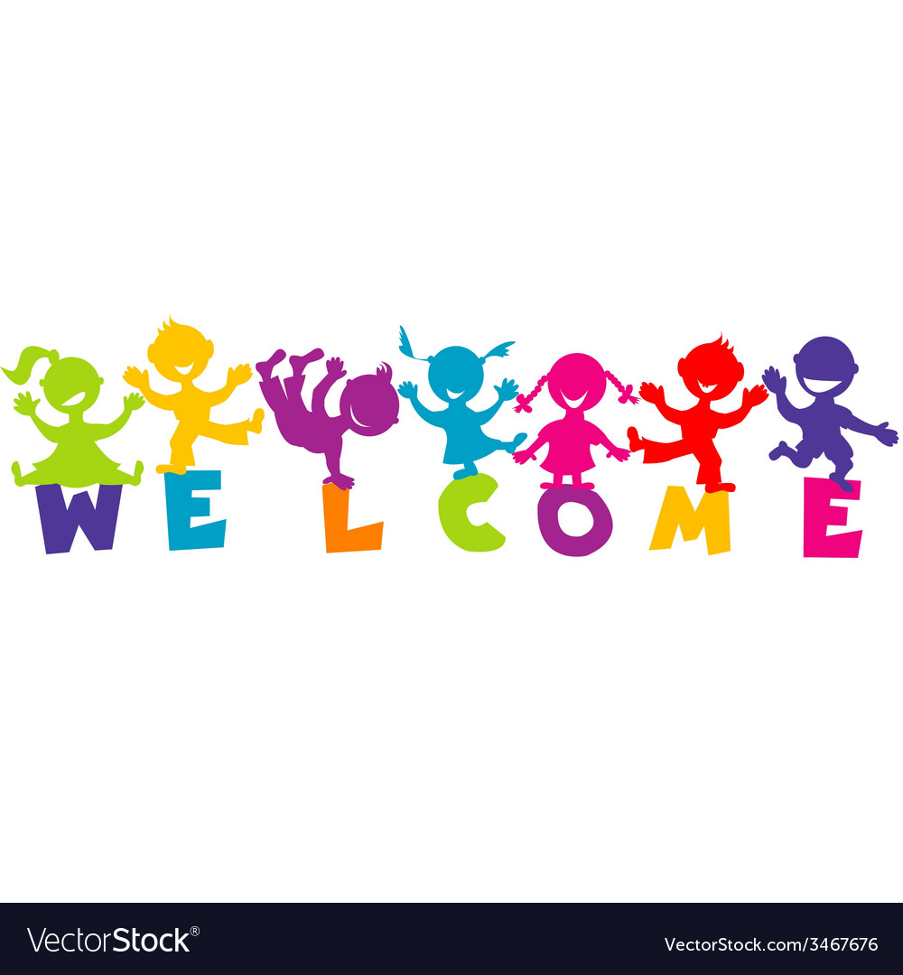 With word welcome and happy children vector | Price: 1 Credit (USD $1)
