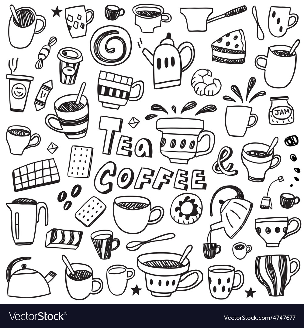 Coffee and tea cups  doodles set vector