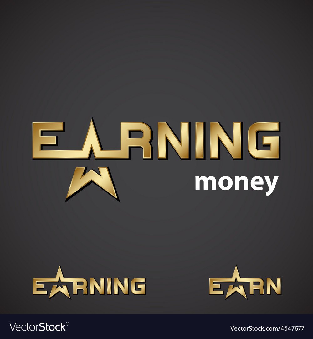 Earning golden star inscription icon vector | Price: 1 Credit (USD $1)