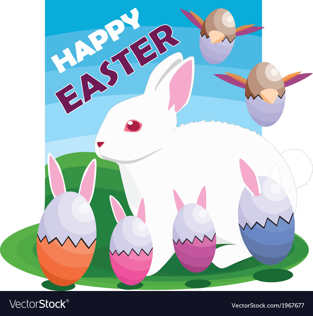 Easter egg bunnies and bird vector | Price: 1 Credit (USD $1)