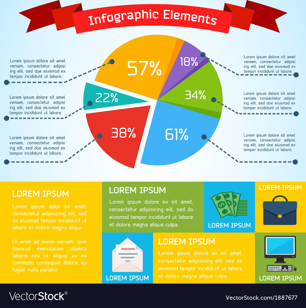 Flat business infographic background vector | Price: 1 Credit (USD $1)