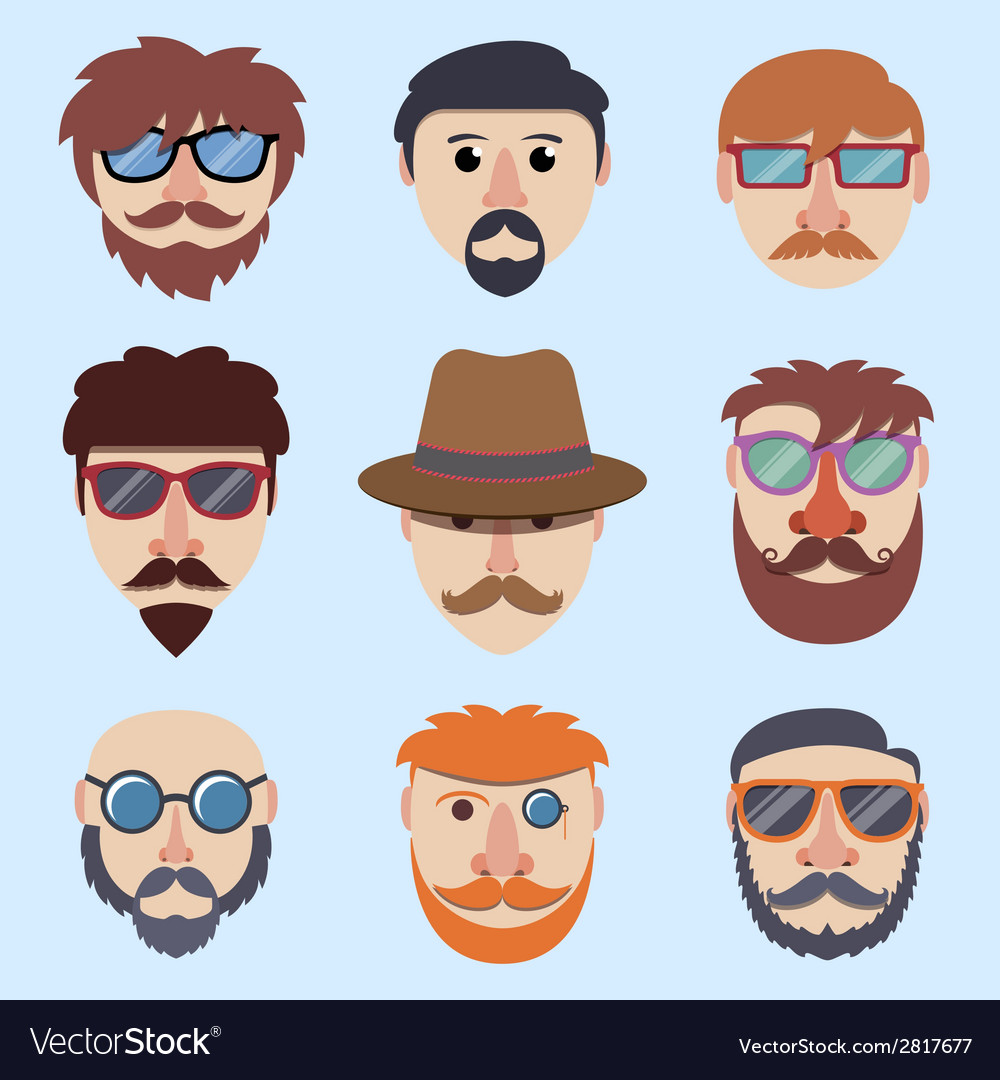 Hipster boy faces vector | Price: 1 Credit (USD $1)