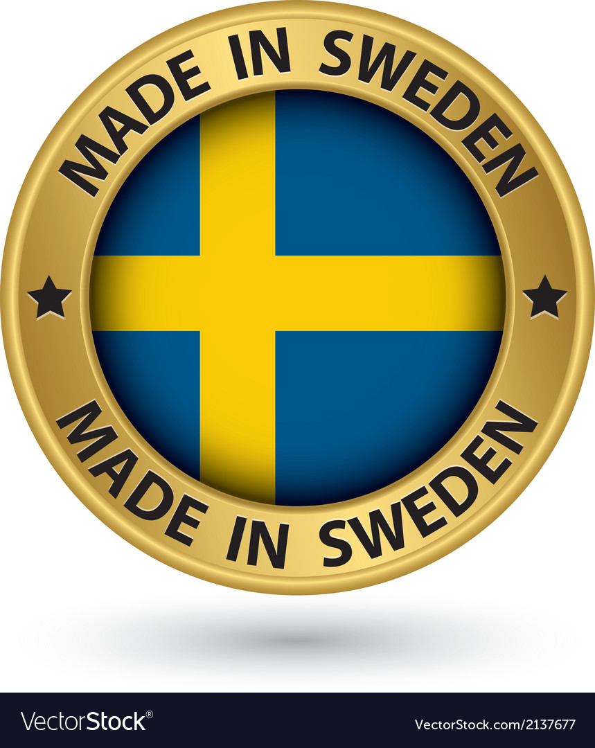 Made in sweden gold label with flag vector | Price: 1 Credit (USD $1)