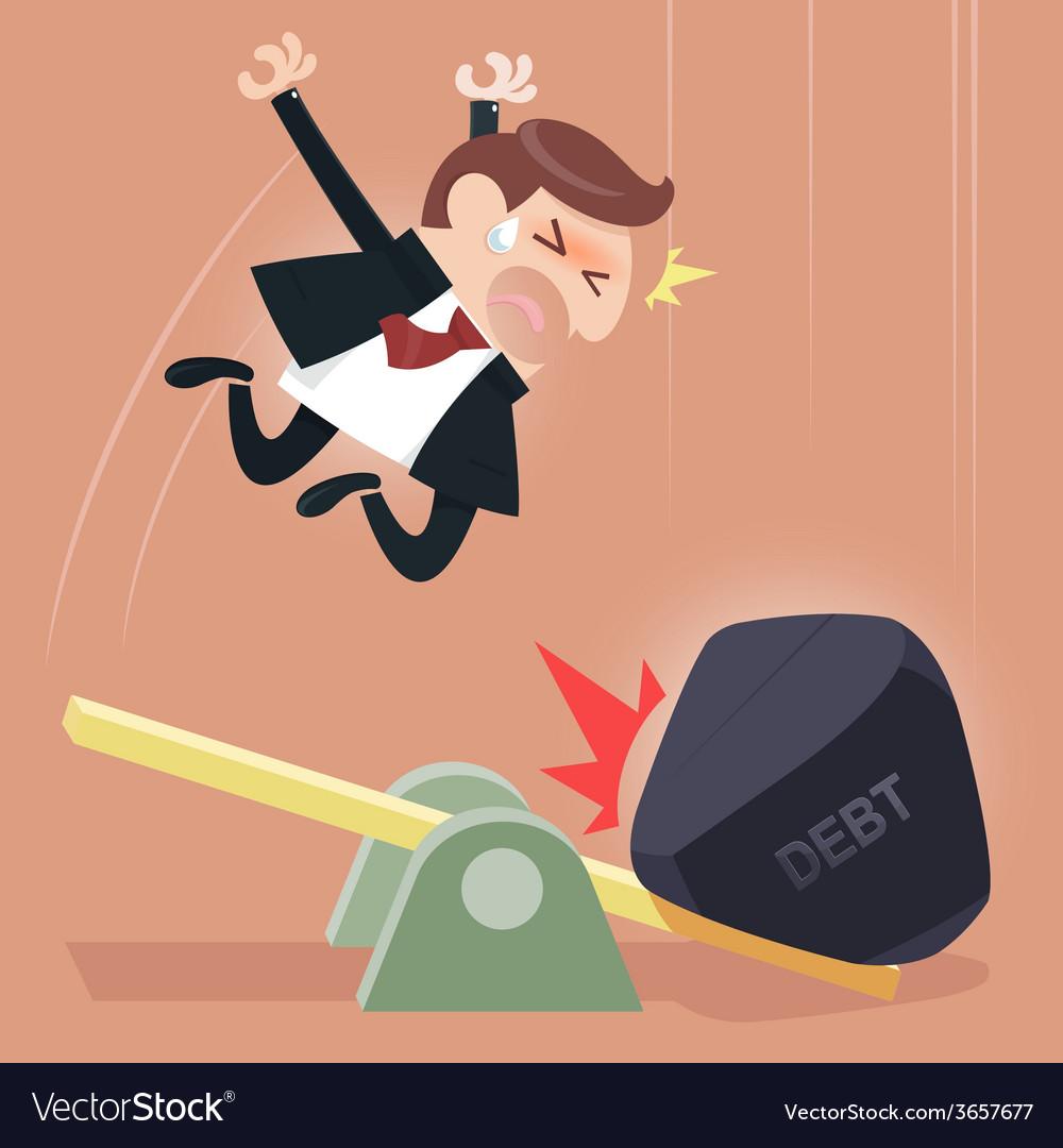 Scale between businessman and debt burden vector | Price: 1 Credit (USD $1)