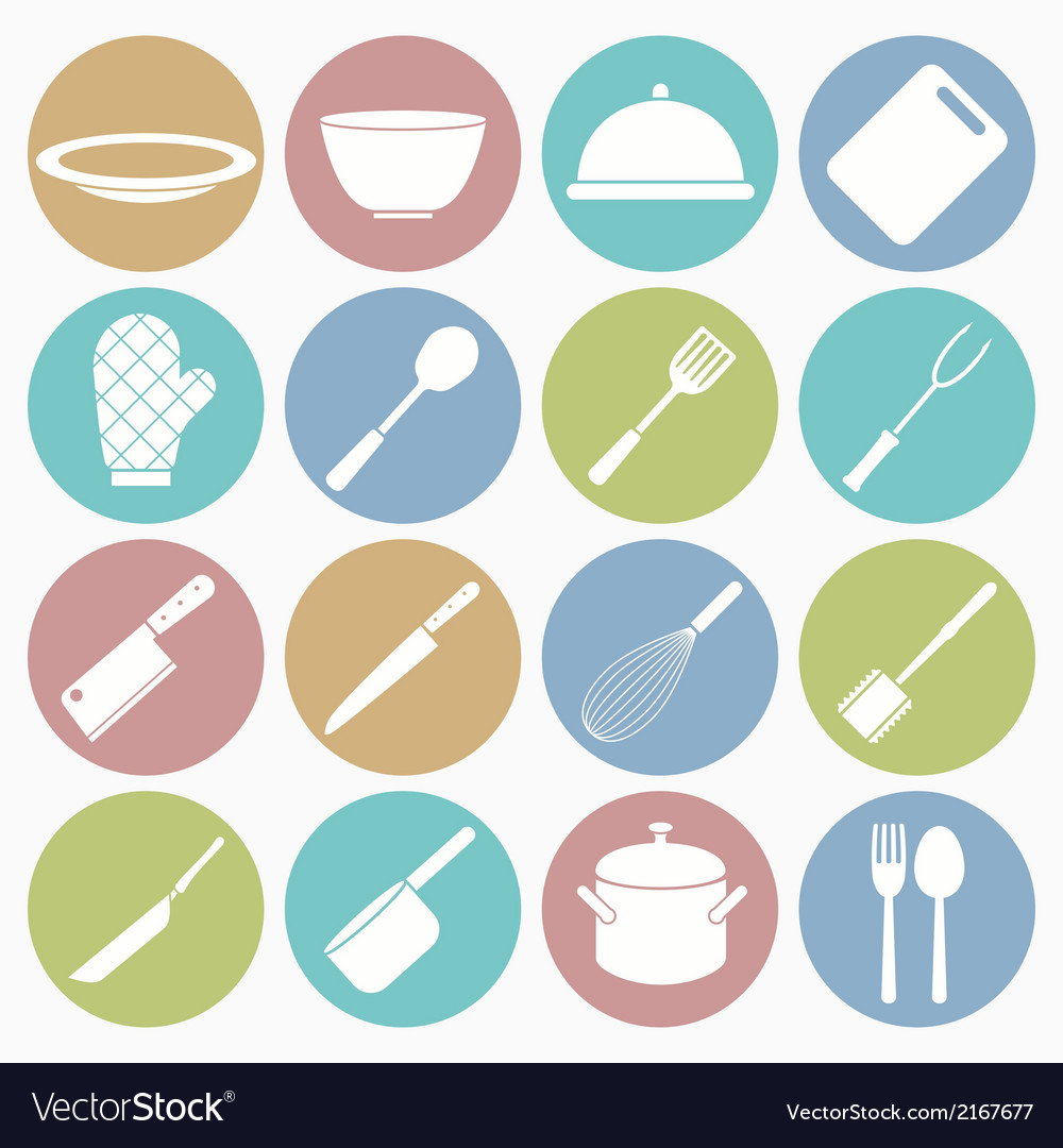 White icons kitchen vector | Price: 1 Credit (USD $1)