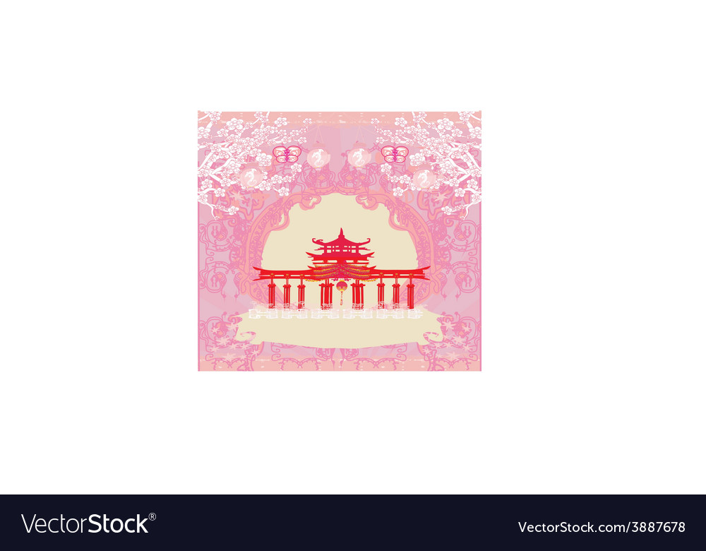 Abstract card with asian buildings vintage frame vector | Price: 1 Credit (USD $1)