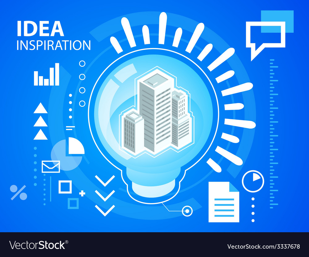 Bright light bulb and buildings on blue back vector | Price: 3 Credit (USD $3)
