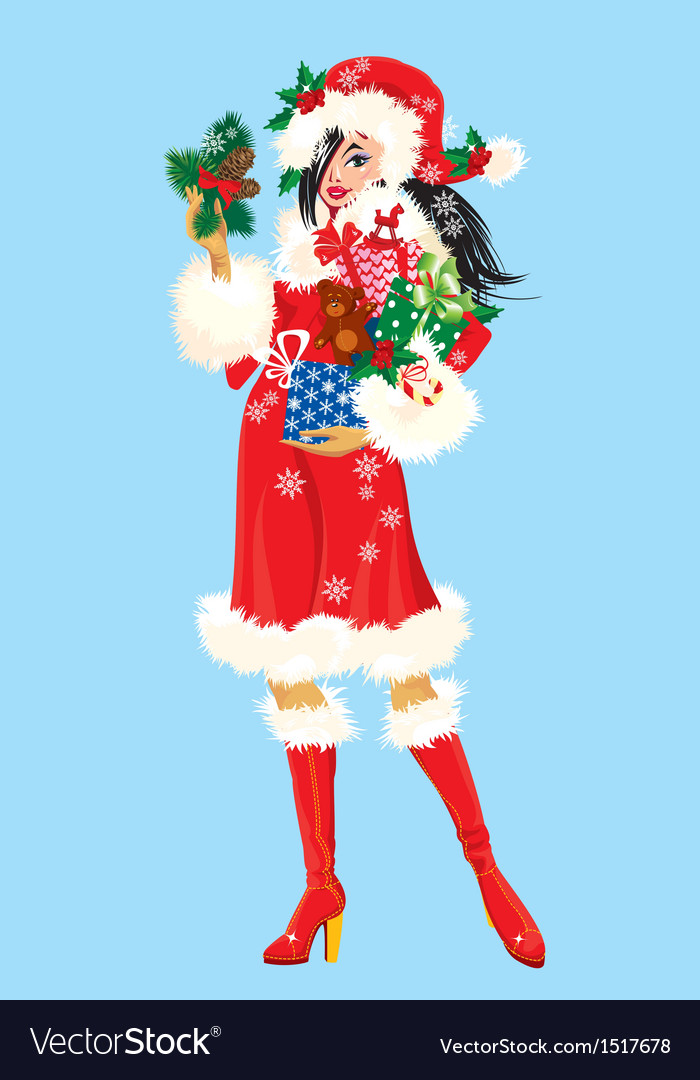 Brunette christmas girl wearing santa claus suit vector | Price: 3 Credit (USD $3)