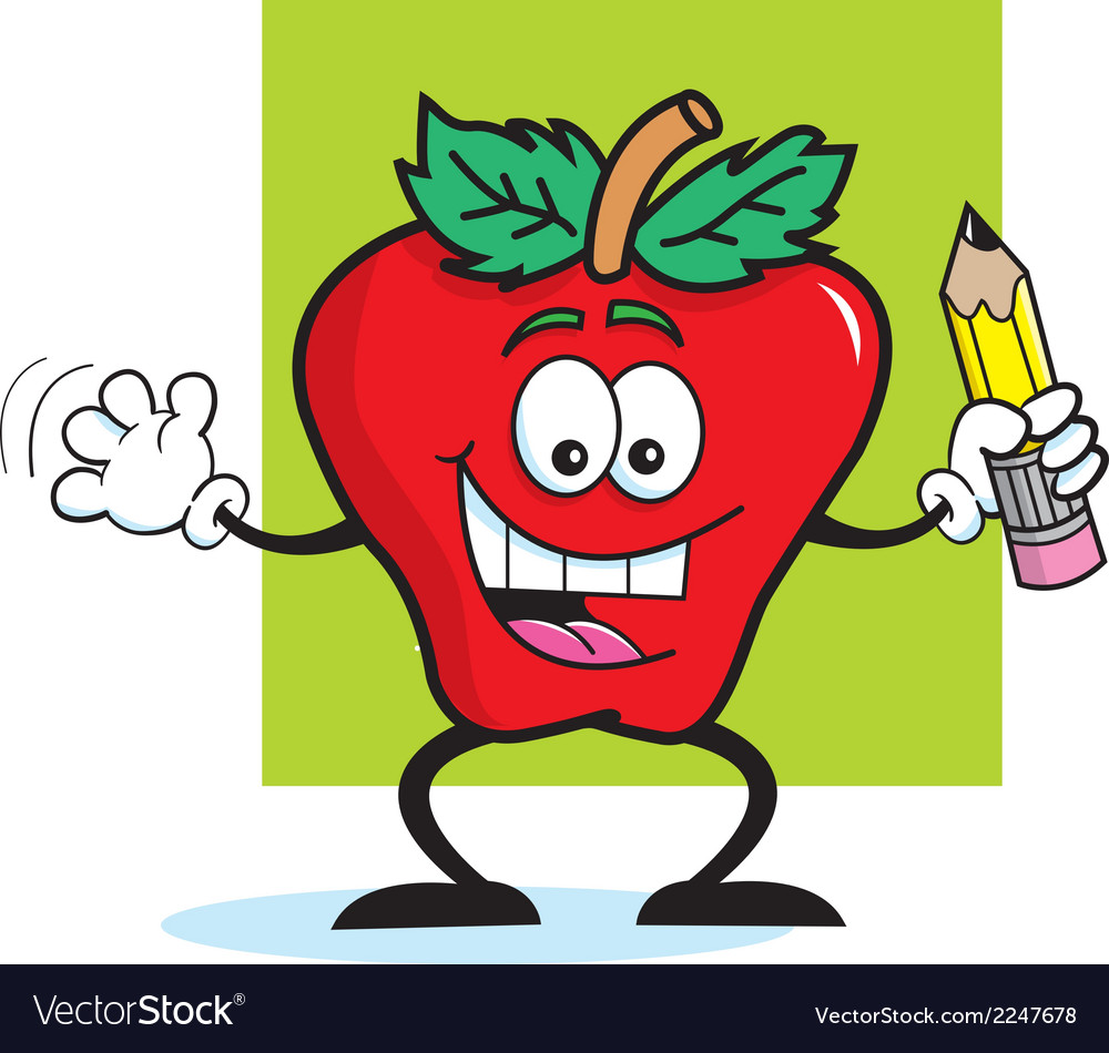 Cartoon apple student vector | Price: 1 Credit (USD $1)
