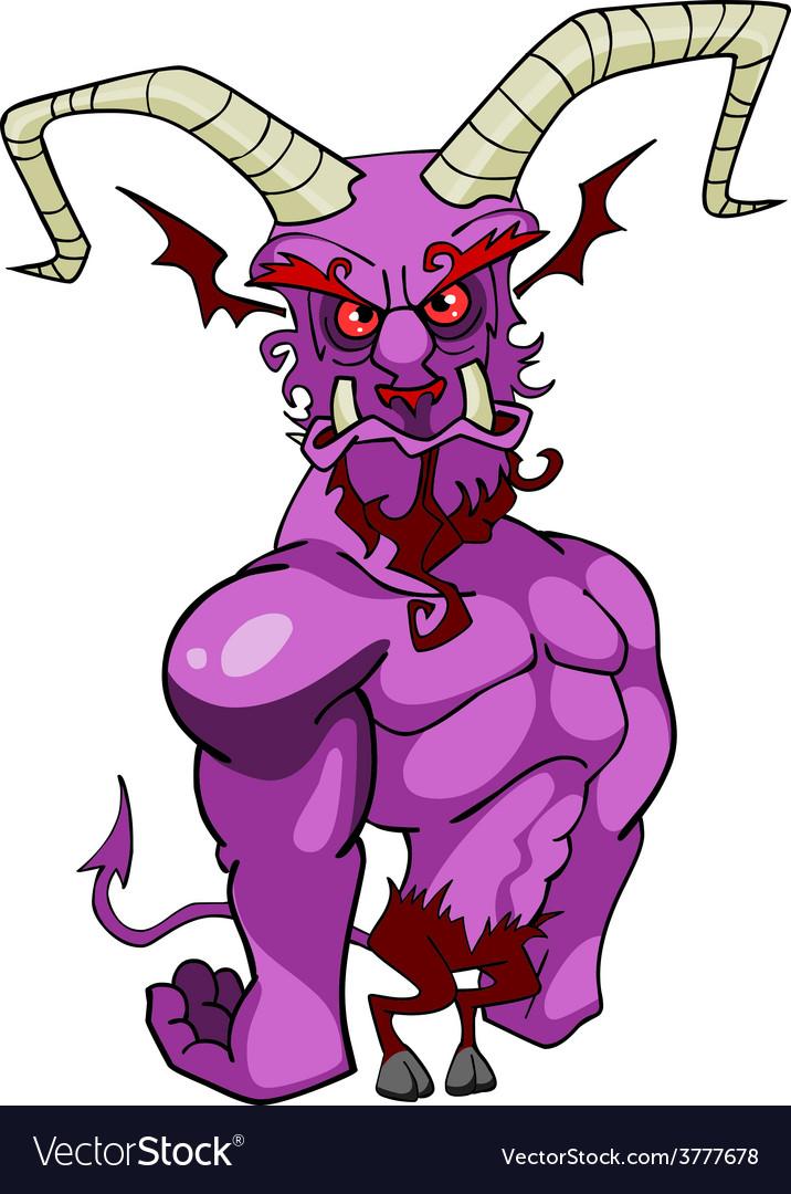 Cartoon horned demon vector | Price: 3 Credit (USD $3)