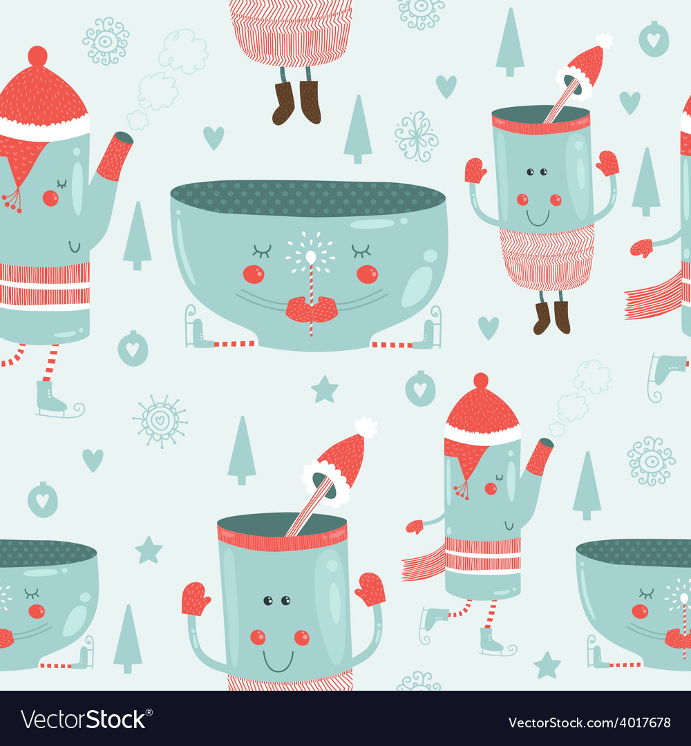 Christmas background with mugs vector | Price: 1 Credit (USD $1)