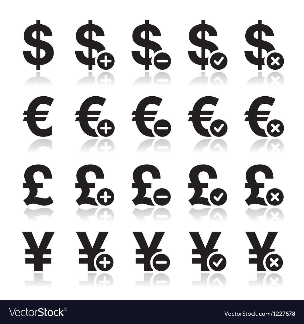 Currency icons set - dollar euro yen pound vector | Price: 1 Credit (USD $1)