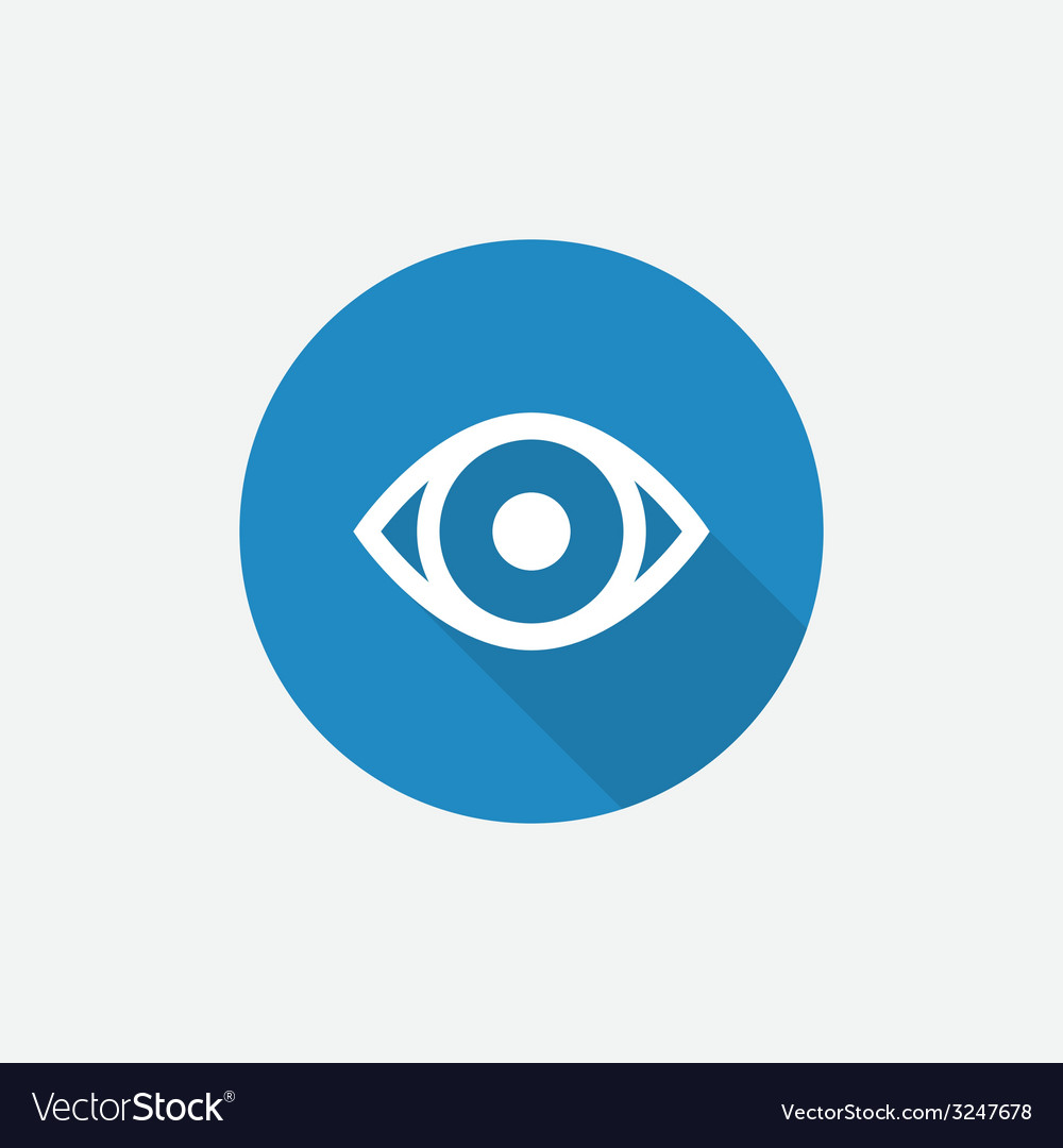 Eye flat blue simple icon with long shadow vector | Price: 1 Credit (USD $1)