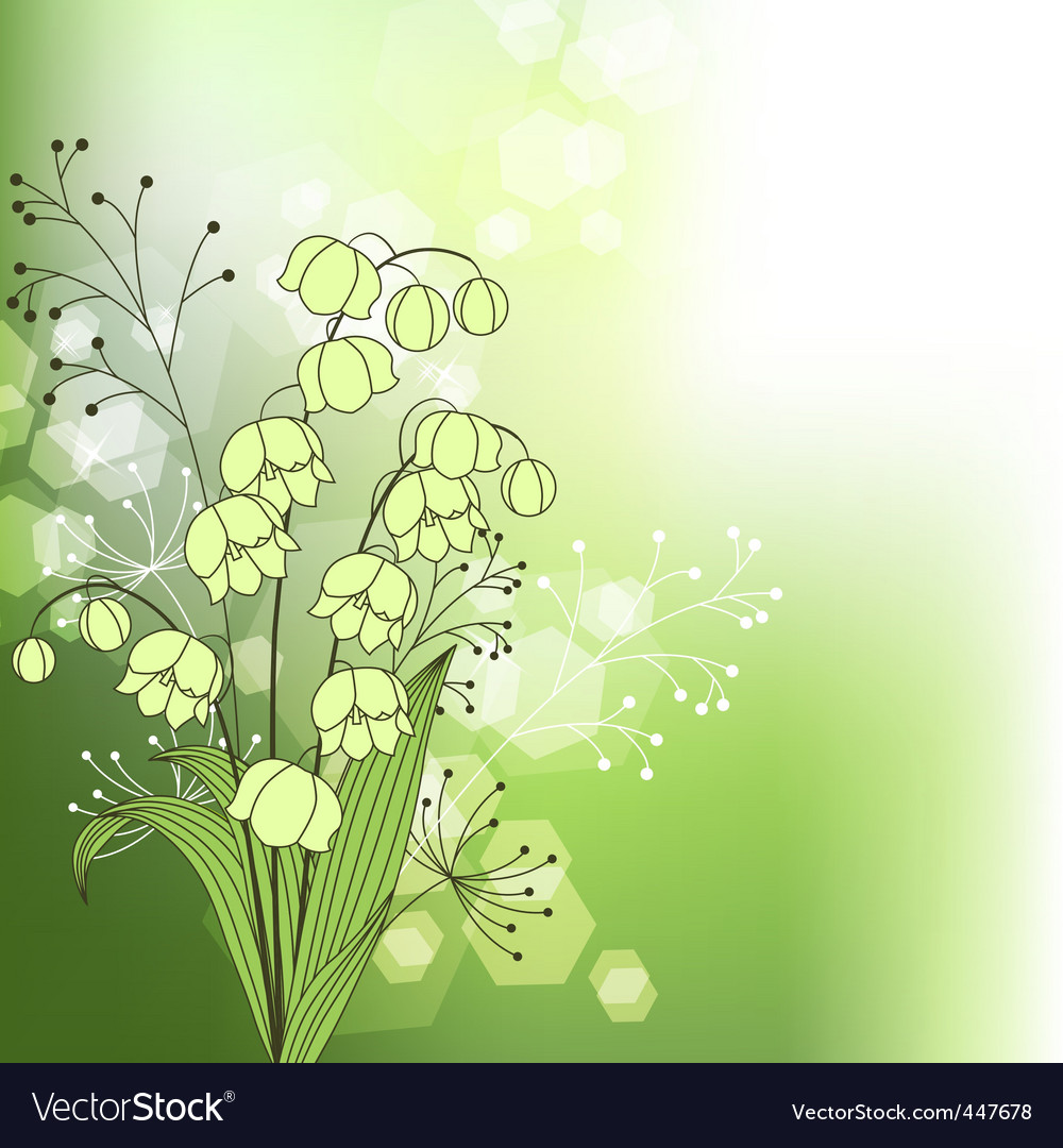 Green background with spring flowers vector | Price: 1 Credit (USD $1)