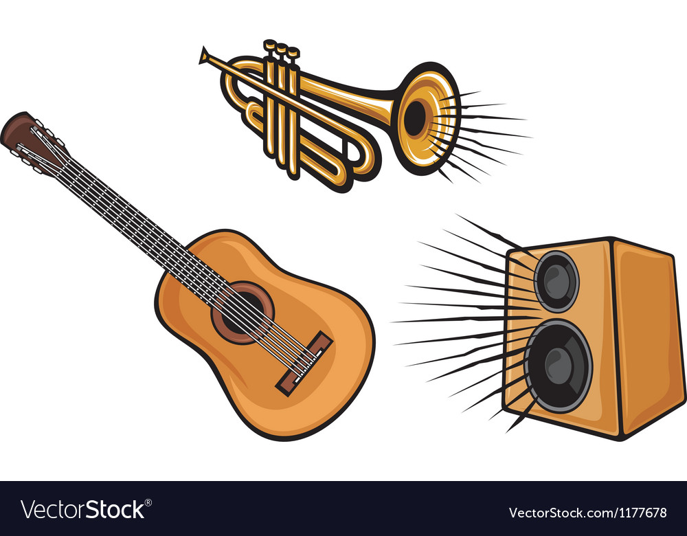 Musical instruments-trumpet guitar and speaker vector | Price: 1 Credit (USD $1)