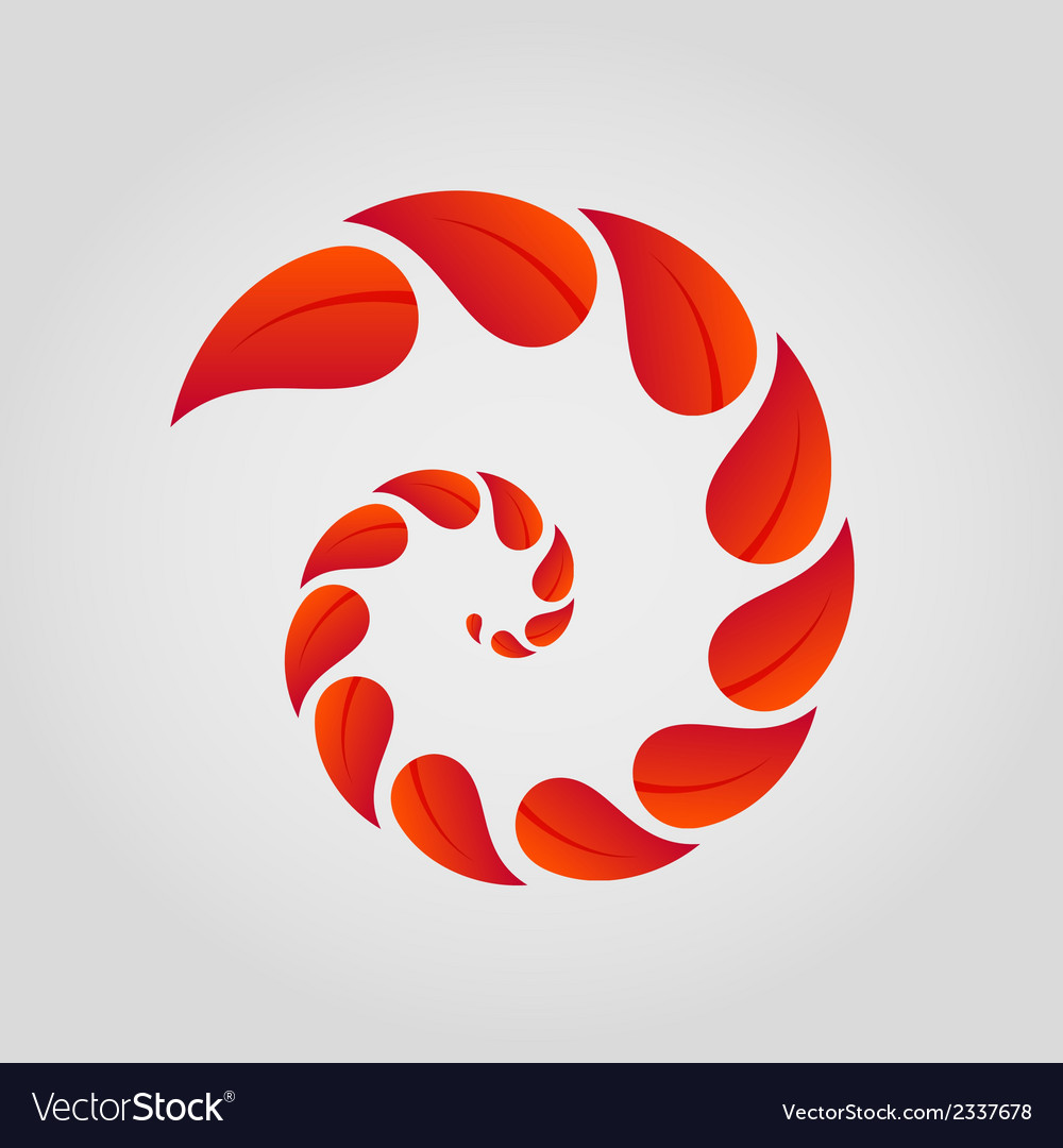 Spiral of red leaves vector | Price: 1 Credit (USD $1)
