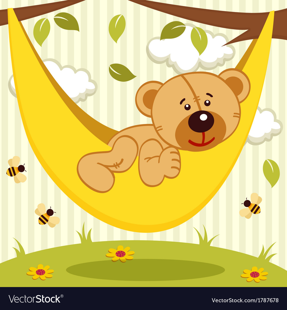 Teddy bear on hammock vector | Price: 1 Credit (USD $1)