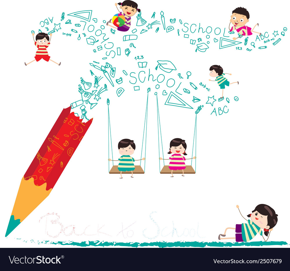 Back to school with pencil vector   Price: 1 Credit (USD $1)