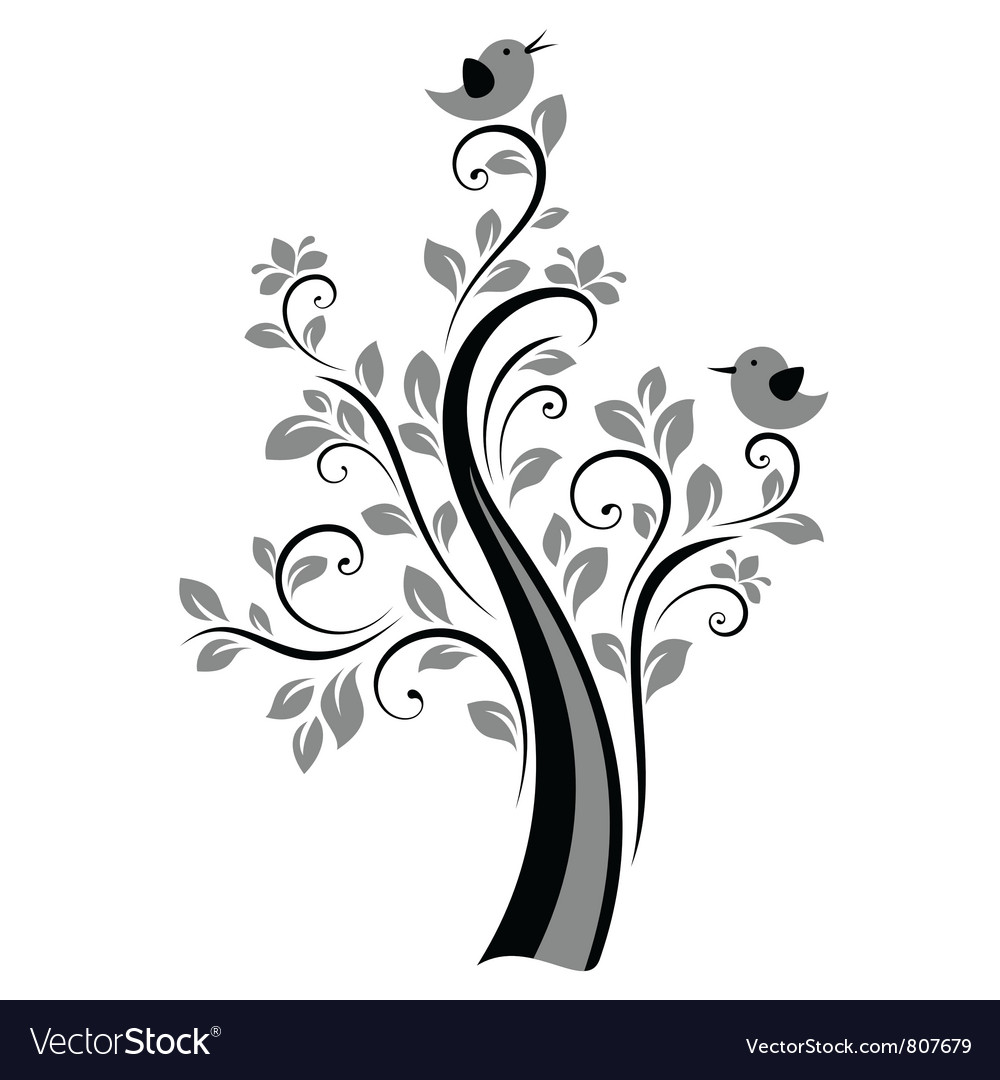 Birds on trees vector | Price: 1 Credit (USD $1)
