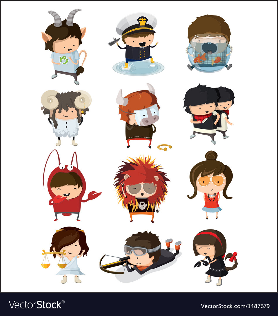 Boys and girls dressed like signs of zodiac vector | Price: 3 Credit (USD $3)