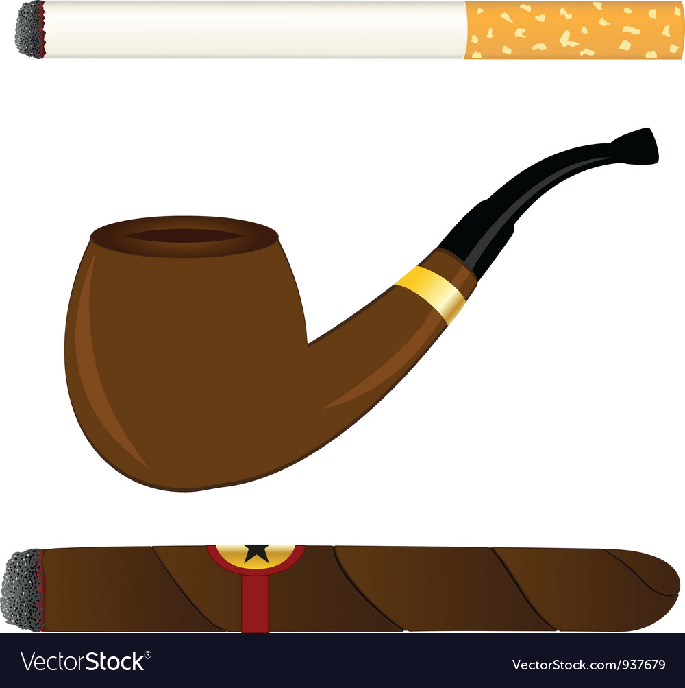Cigarette pipe and cigar vector | Price: 3 Credit (USD $3)
