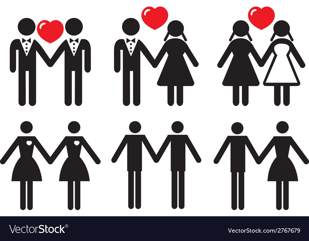 Gay and lesbian love couples set vector | Price: 1 Credit (USD $1)
