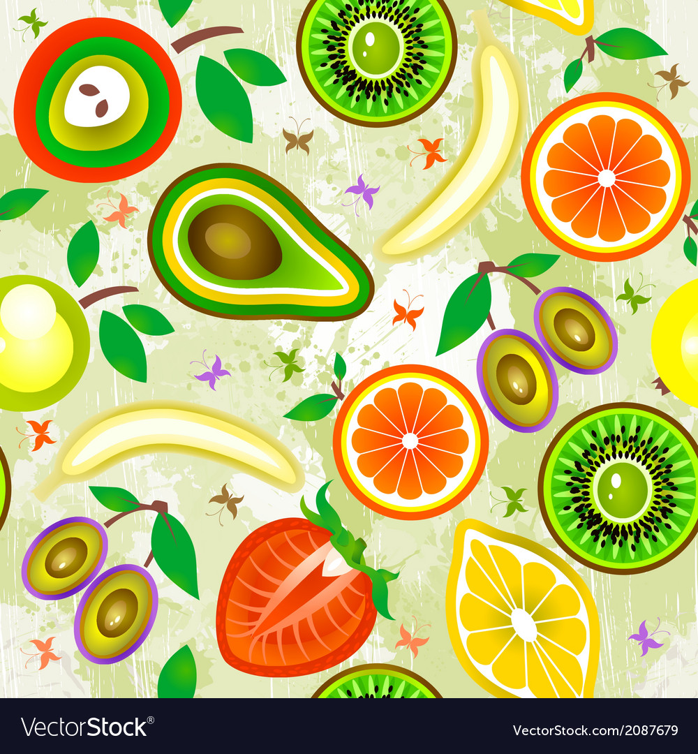 Juicy fruits seamless pattern vector | Price: 1 Credit (USD $1)