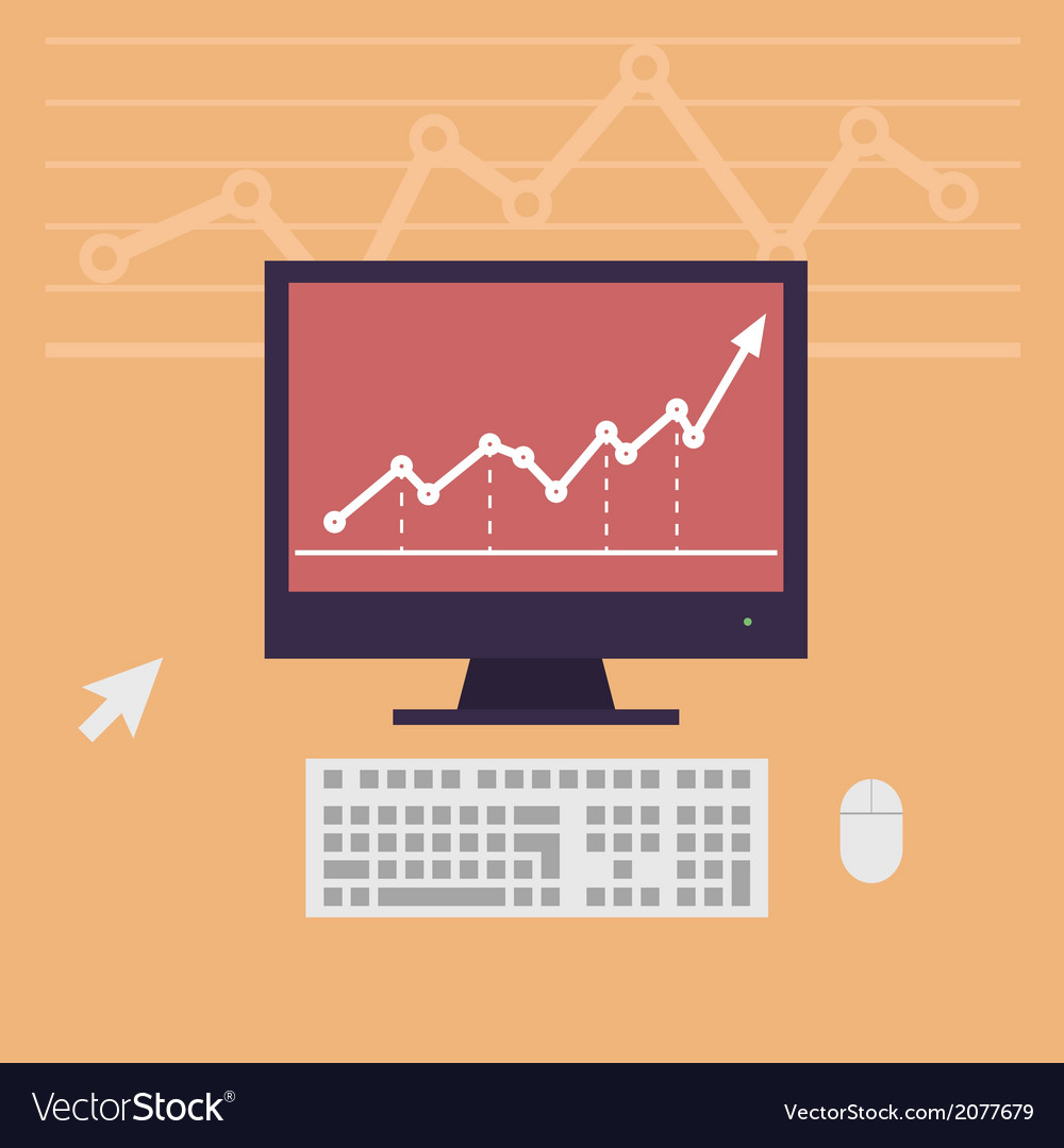 Monitor workstation desk vector | Price: 1 Credit (USD $1)