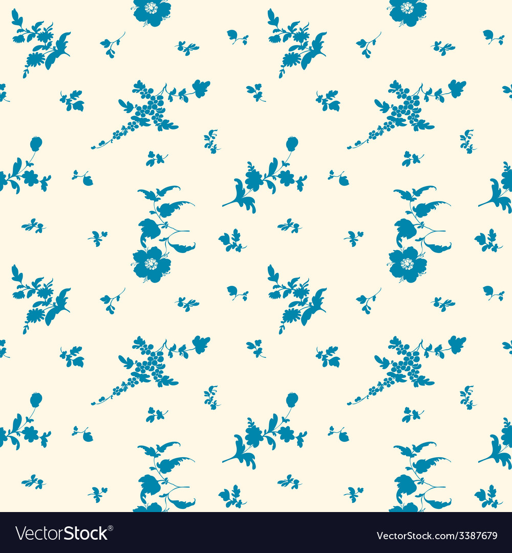 Seamless silhouette flower blue vector | Price: 1 Credit (USD $1)