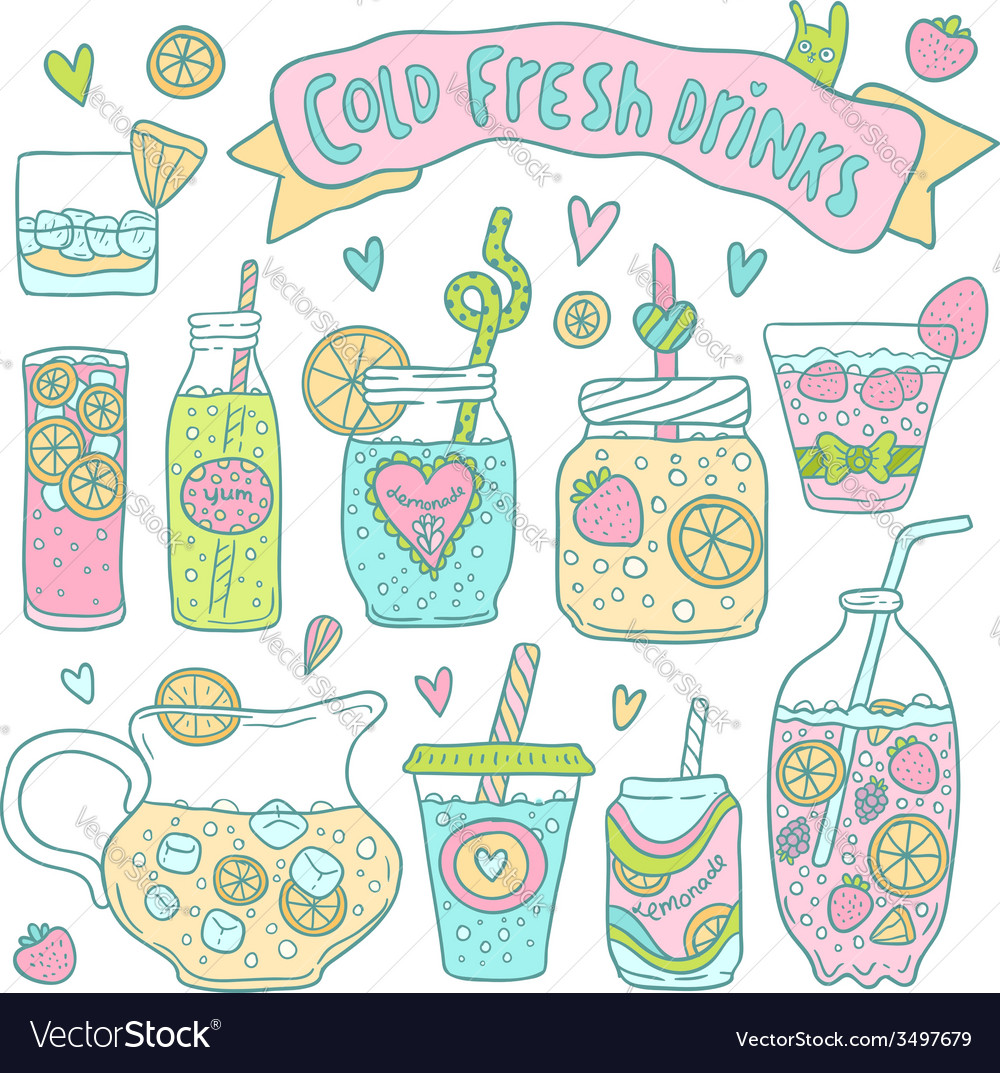 Set of cute hand drawn cocktails and lemonades vector   Price: 1 Credit (USD $1)