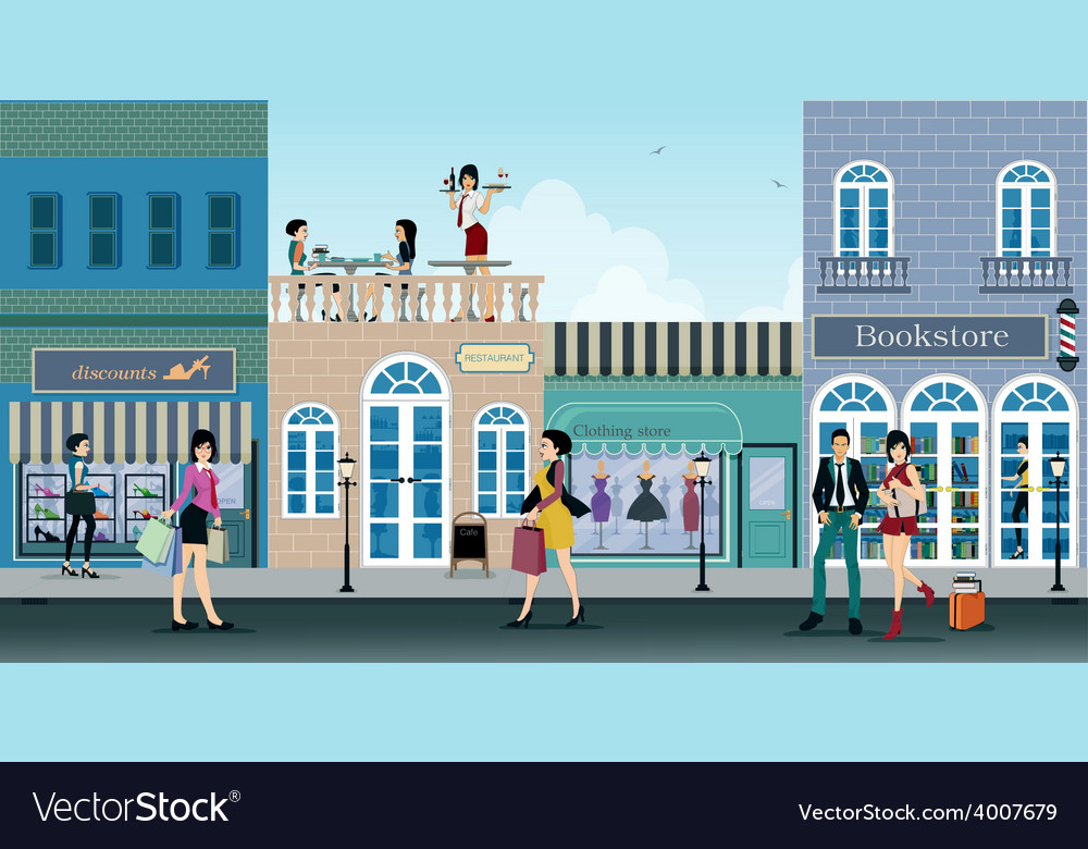 Shopping street vector | Price: 3 Credit (USD $3)