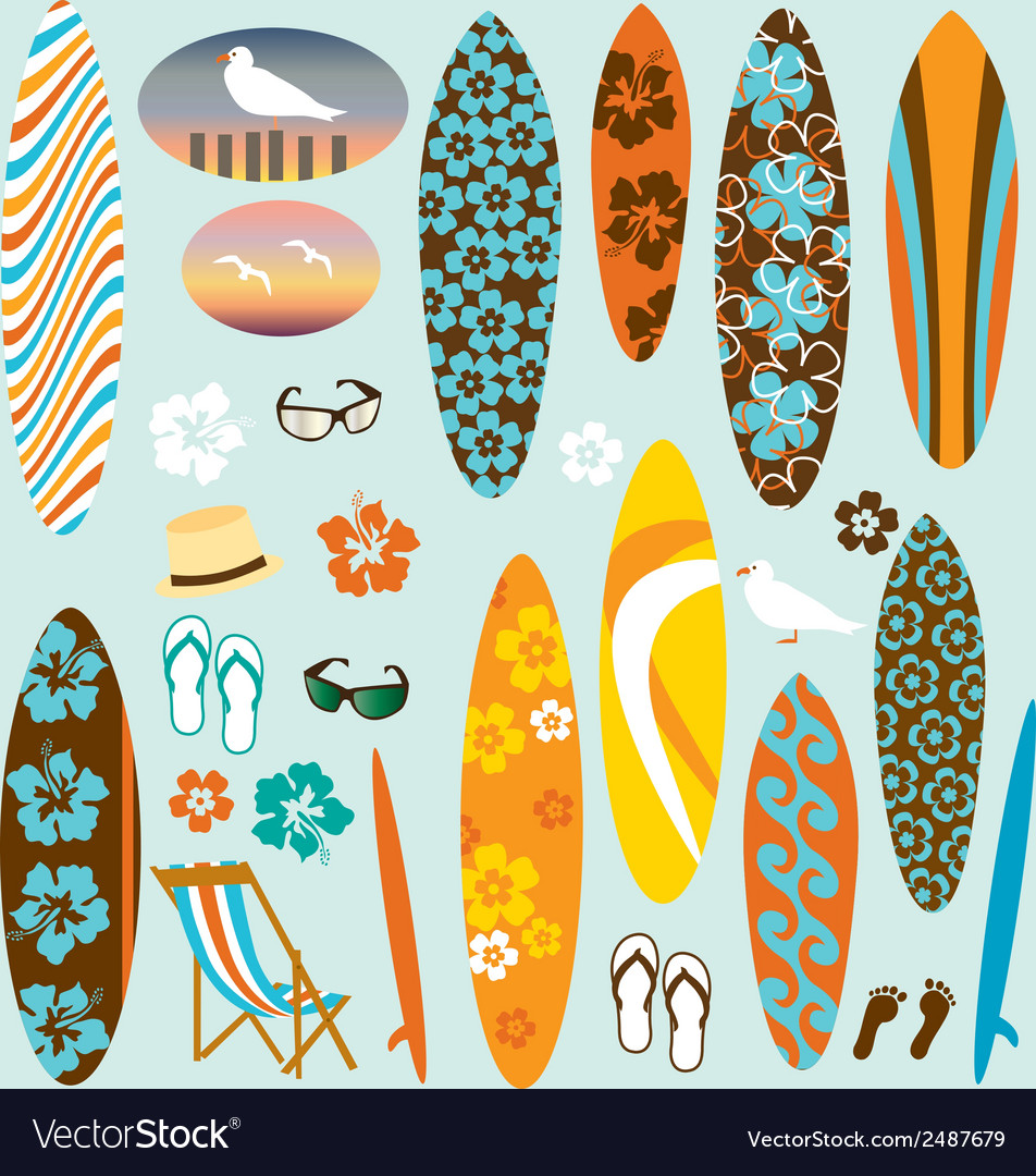Surfboard clipart vector | Price: 1 Credit (USD $1)