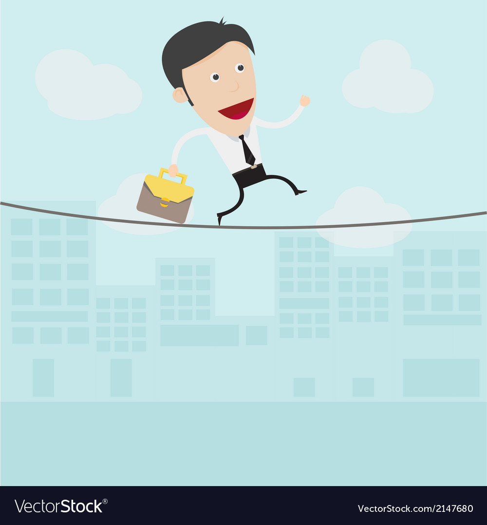 Businessman walking on a rope vector | Price: 1 Credit (USD $1)