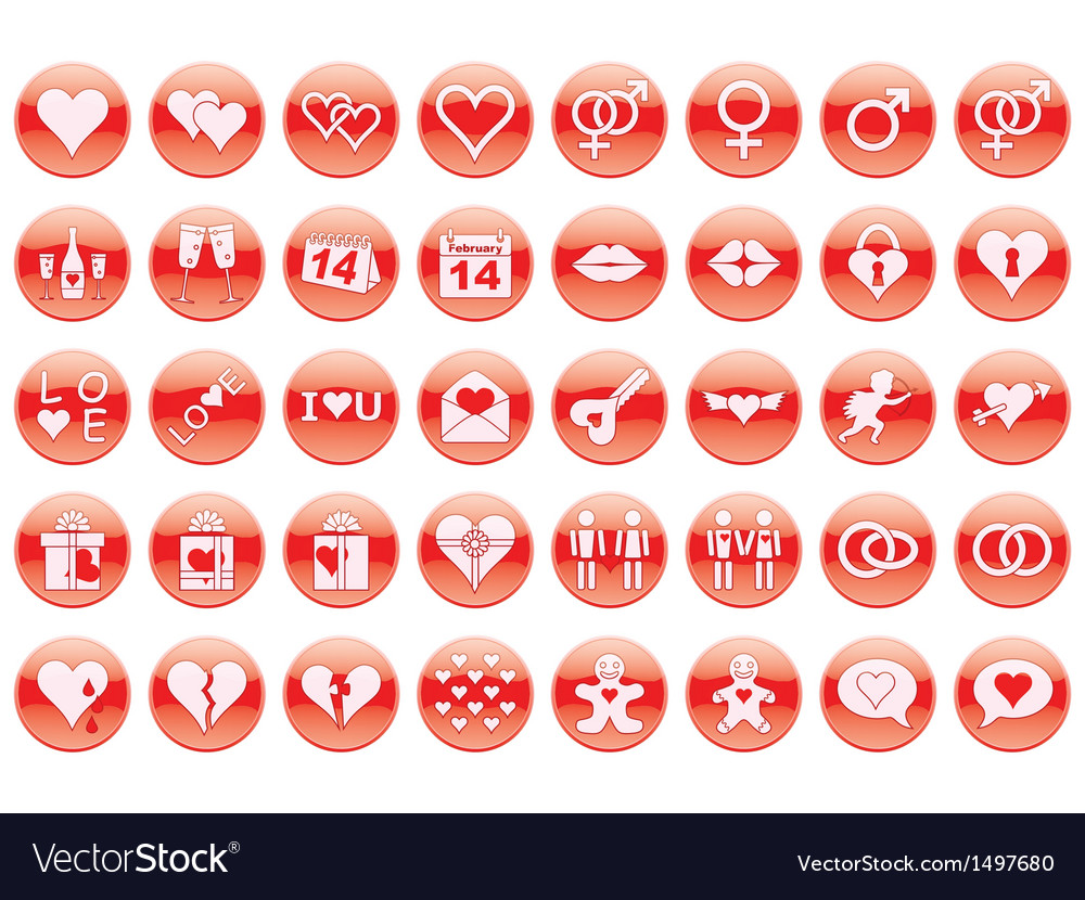 Day of valentine icons vector | Price: 1 Credit (USD $1)