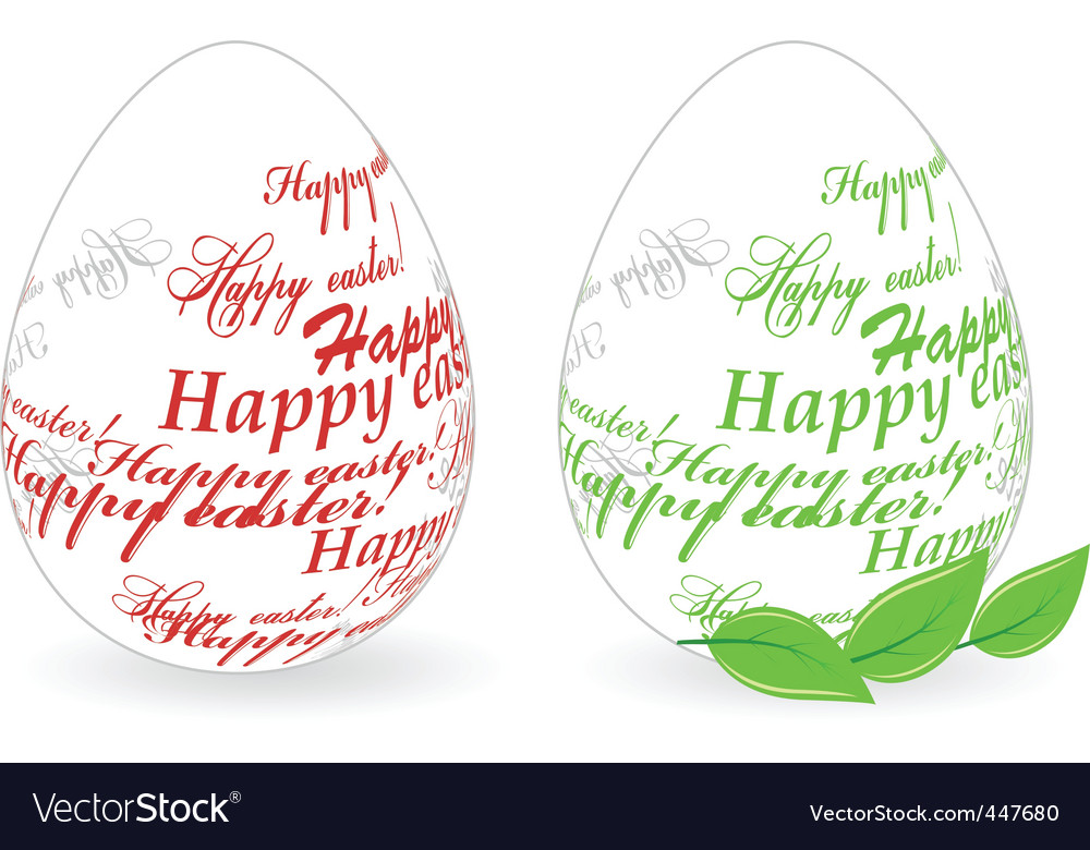 Easter eggs made of happy easter phrase vector | Price: 1 Credit (USD $1)