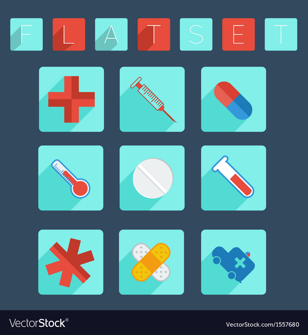 Flat medical icon set vector | Price: 1 Credit (USD $1)